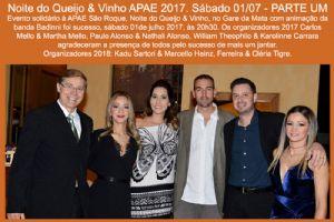 Noite do Queijo & Vinho APAE 2017. Sábado 01/07 - PARTE UM